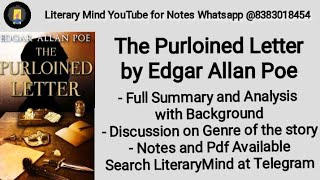 The Purloined Letter by Edgar Allan Poe Full Summary and Analysis in Hindi Exam Special English (H)