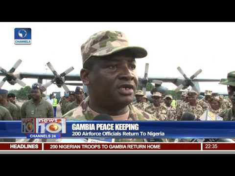 200 Airforce Officials Return From Gambia Peace Keeping Mission