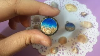Beach Pendant DIY (ocean, sand, waves and seashells)