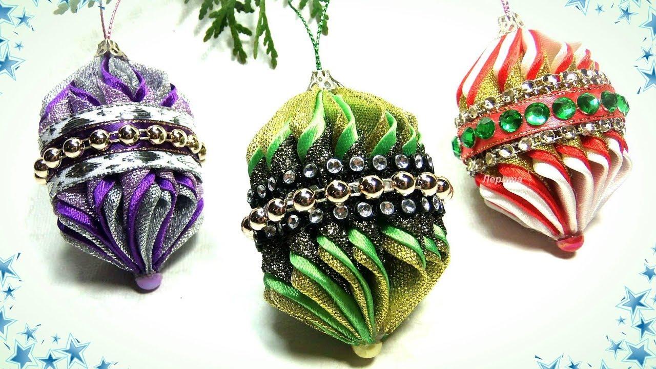 Новогодние игрушки на ёлку своими руками канзаши / diy ...