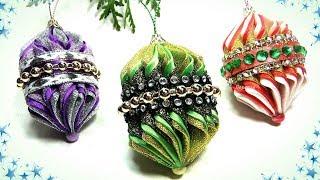 Новогодние игрушки на ёлку своими руками канзаши / diy christmas ornaments