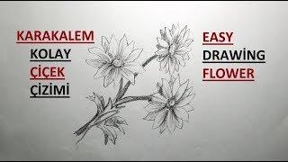 Kolay Çiçek Çizimi / Karakalem Adım Adım Çiçek Çizimi / Çiçekler Nasıl Çizilir?
