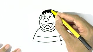 How to draw Takeshi Goda, Gian -Doraemon  in easy steps for children. beginners