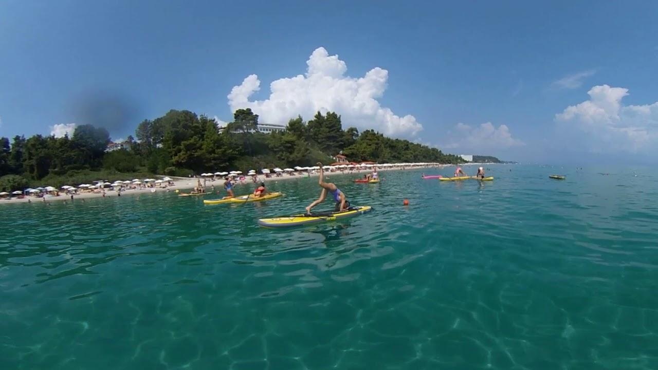 A swim with the mermaids on SUPs.  Agora Beach Halkidiki