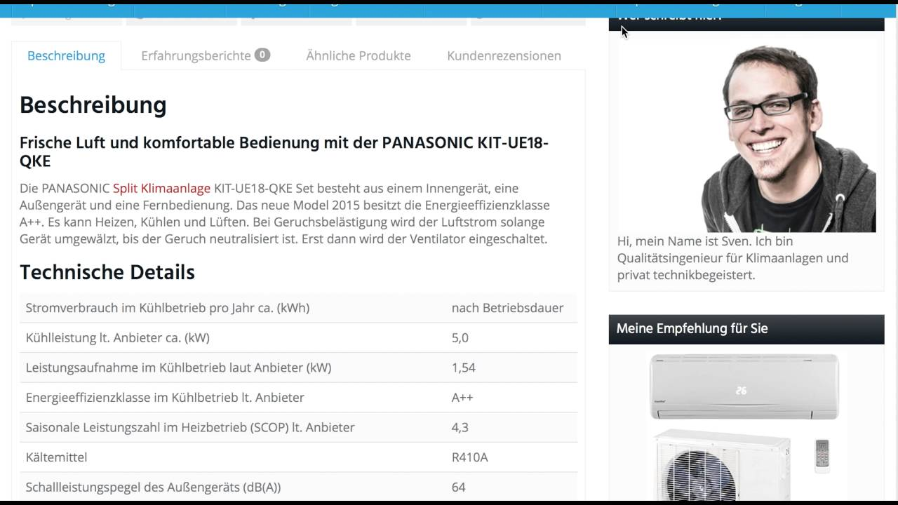 erfahrungen die panasonic split klimaanlage kit ue18 qke im test youtube. Black Bedroom Furniture Sets. Home Design Ideas