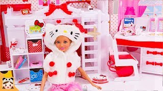 내가 만약 헬로키티 집에 산다면? 헬로키티 방 소개 아침 일상 밀착중계 ! 인형집 만들기 주방놀이 인형놀이 드라마 장난감놀이 Hello Kitty Doll House | 보라미TV