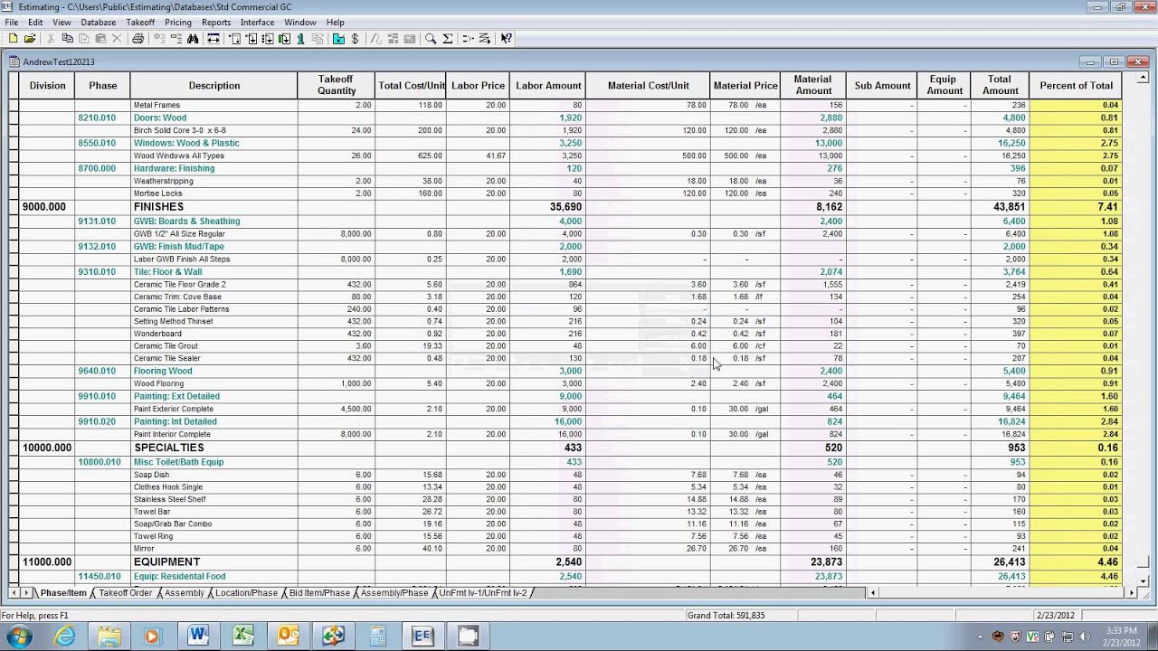 Sage 300 CRE Estimating - Percent of Total