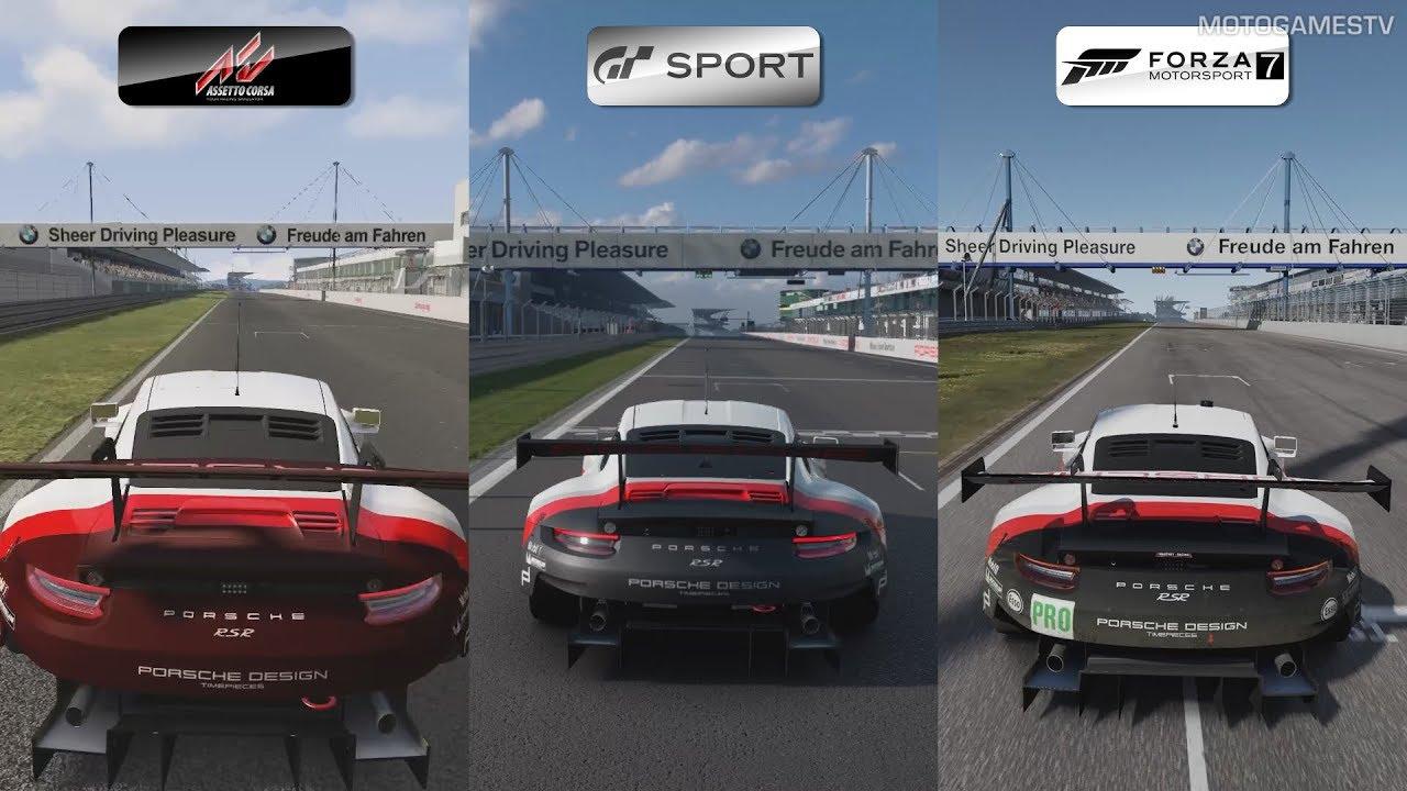 Assetto Corsa vs GT Sport vs Forza 7 - Porsche 911 RSR at ...
