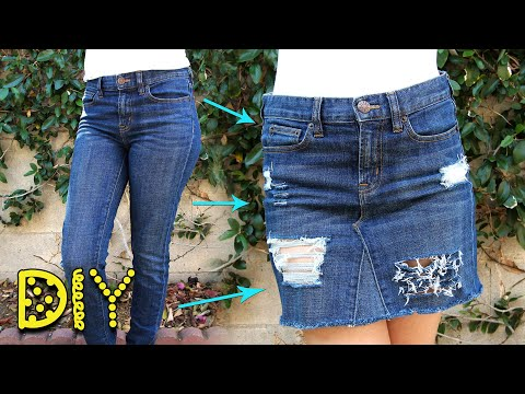 DIY Distressed Denim Skirt from JEANS - NO SEW    Lucykiins