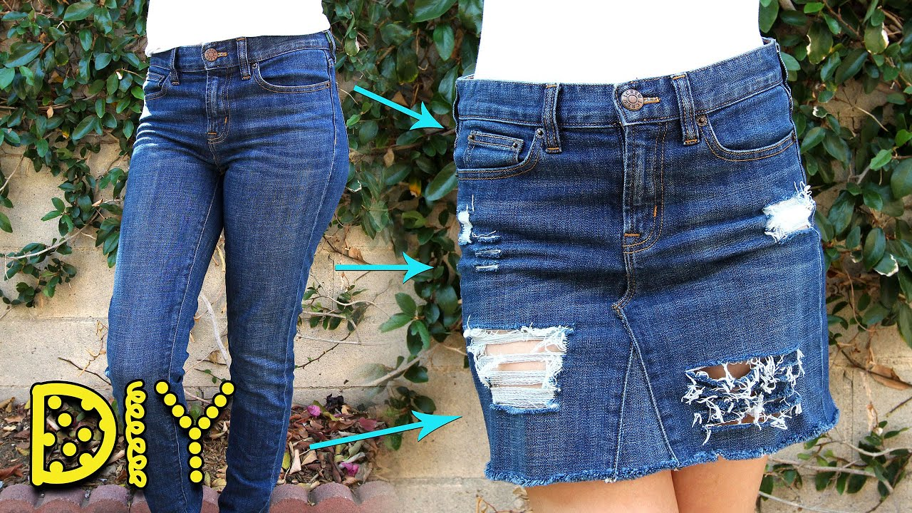 diy distressed denim skirt from no sew