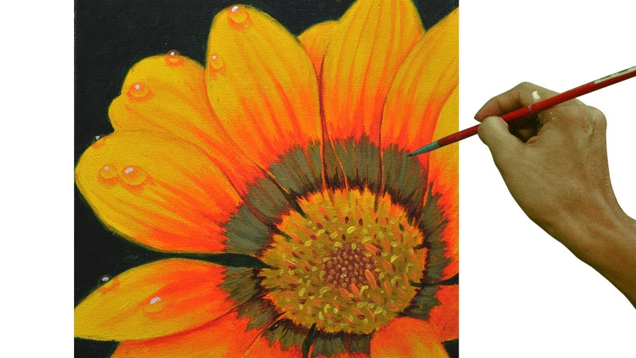 Painting Tutorial On How To Paint Yellow Daisy Flower With Water