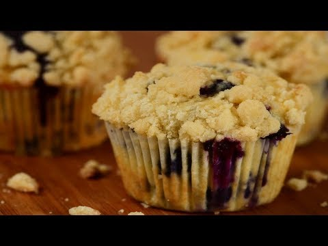 Blueberry Streusel Muffins Recipe Demonstration - Joyofbaking.com