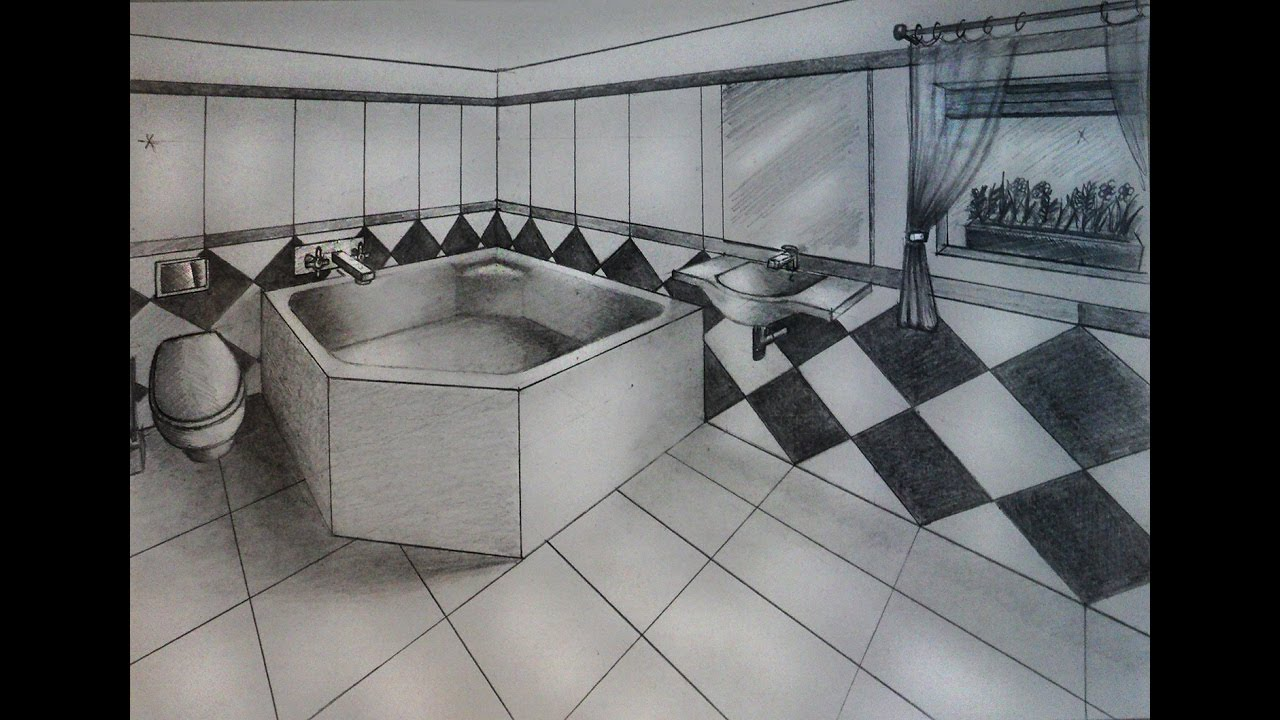 Bathroom perspective drawing - How To Draw Bathroom With Big Bathtub Two Point Perspective