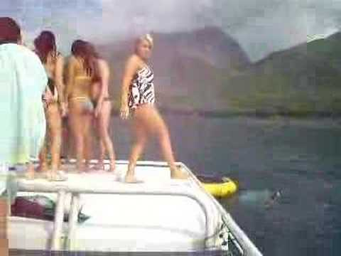 Jumping off boat in Maui