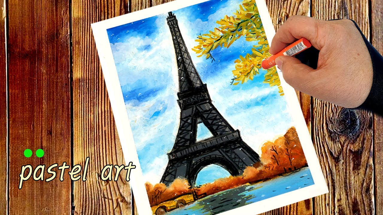 How to draw a Paris Eiffel Tower 오일파스텔, 파리 에펠탑 풍경그리기 왕초보 오일파스텔 강좌 pastel art