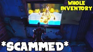 "I Scammed WHOLE INVENTORY!! Stupid Scammer Gets Scammed In ""Fortnite Save The World PVE"""