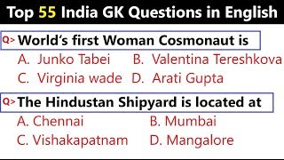 55 India General Knowledge objective Questions and Answers || India Gk in English || Part - 3