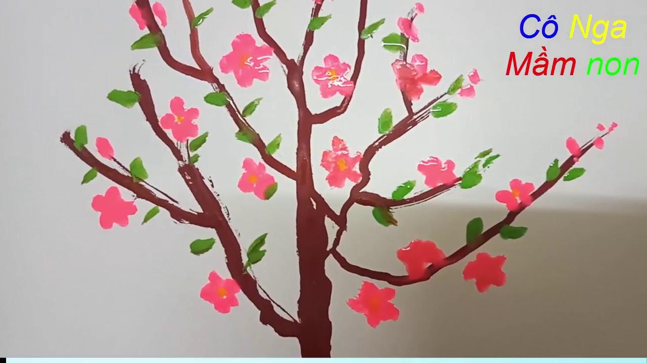 Vẽ chậu hoa đào –  VE CHAU HOA DAO – cách vẽ cây hoa anh đào đơn giản