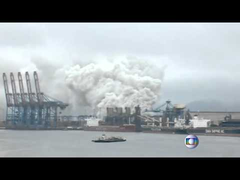 Chemical container fire restricts Brazil's Santos port
