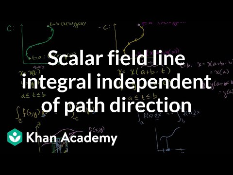 Scalar field line integral independent of path direction | Multivariable Calculus | Khan Academy