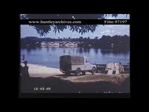 Crossing the River Oubangui from the Belgian Congo.  Archive film 97197
