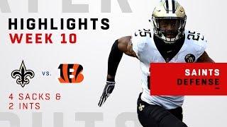 Saints Defense Rack Up 4 Sacks & 2 INTs vs. Bengals!