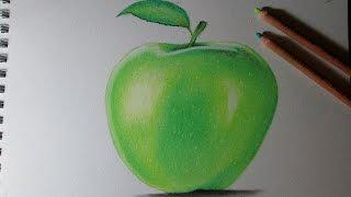 Cómo dibujar una manzana con lápices pastel paso a paso - Aprender a dibujar frutas con colores