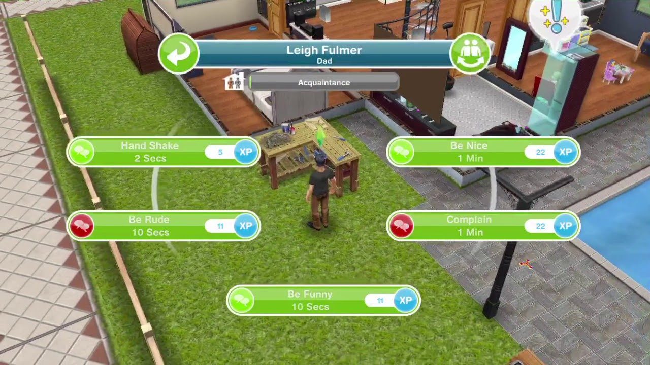 sims freeplay - how to have a quick practice using a woodworking bench