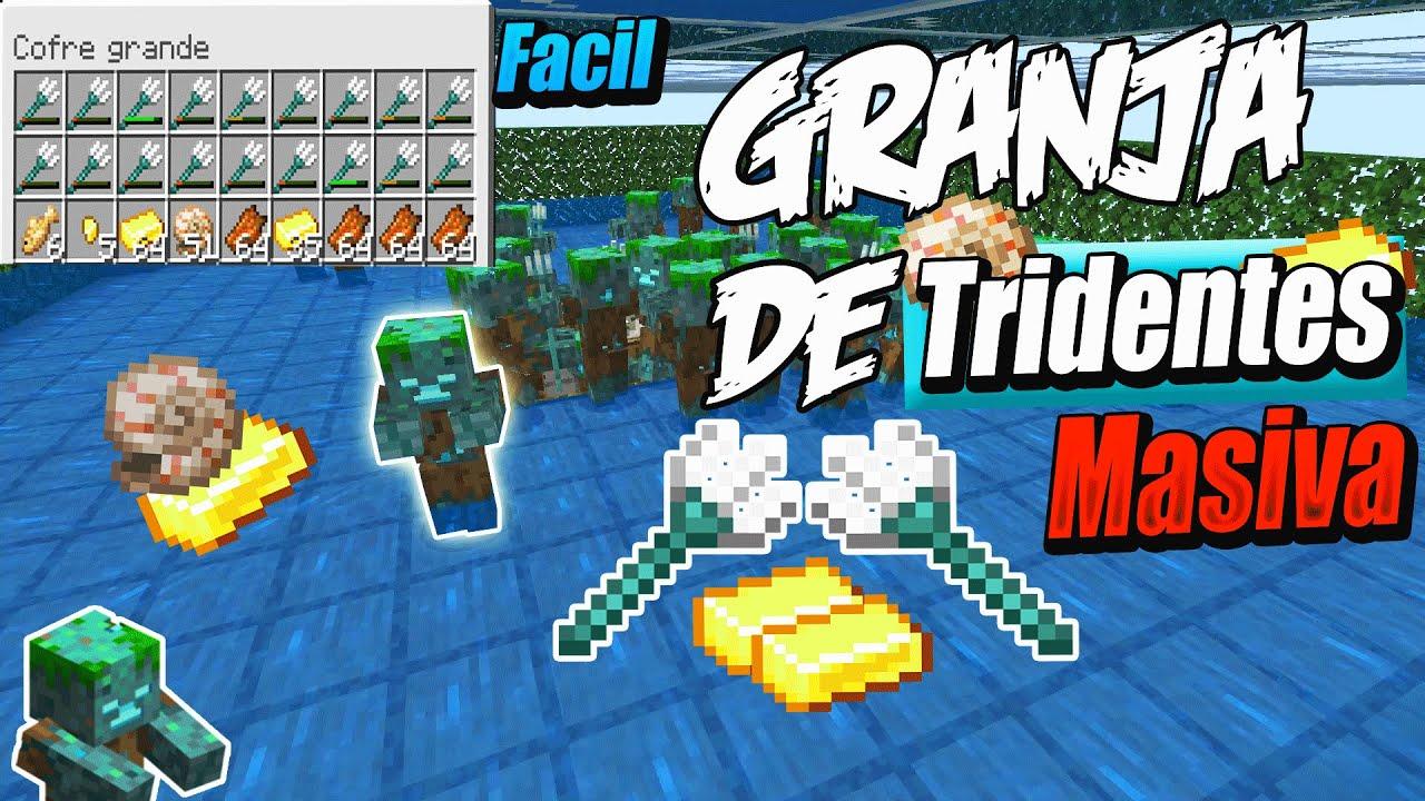 Minecraft Bedrock: Granja de Tridentes Masiva, Facil 1.16.1