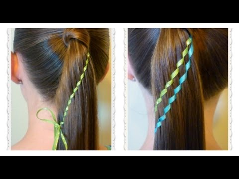 waterfall twist ribbon braid ponytail