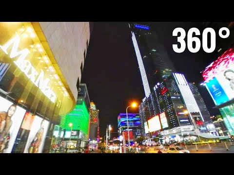 360 VR video Chinese City Shopping Center street skyscrapers Wuxi China by Night