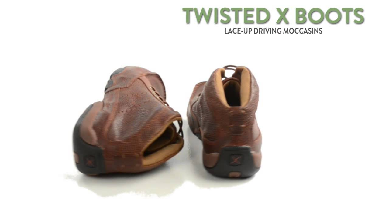 72bf02b90cfd2 Twisted X Boots Lace-Up Driving Moccasins - Leather (For Men) - YouTube