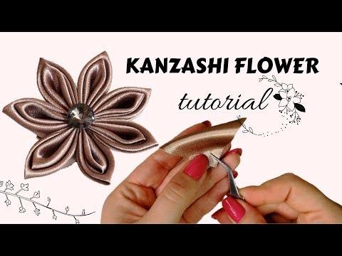 Kanzashi flower tutorial   Fabric flower tutorial   Handmade gift