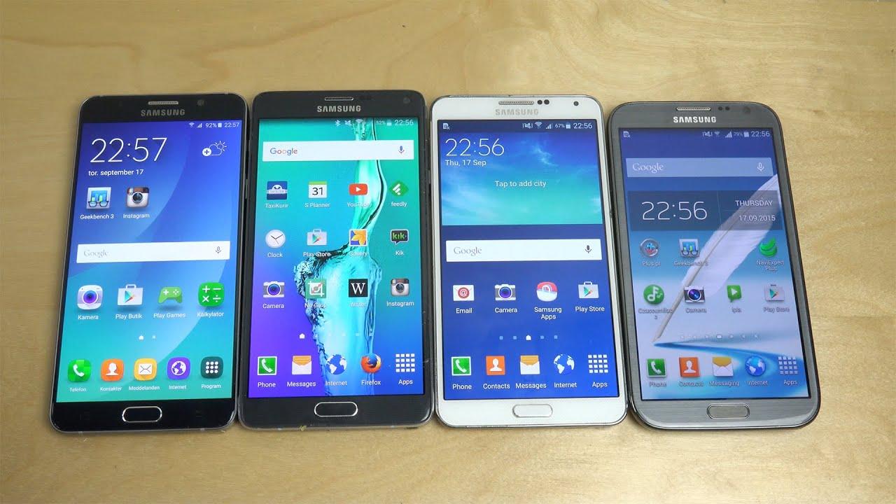 Samsung galaxy note 5 vs note 4 vs note 3 vs note 2 benchmark