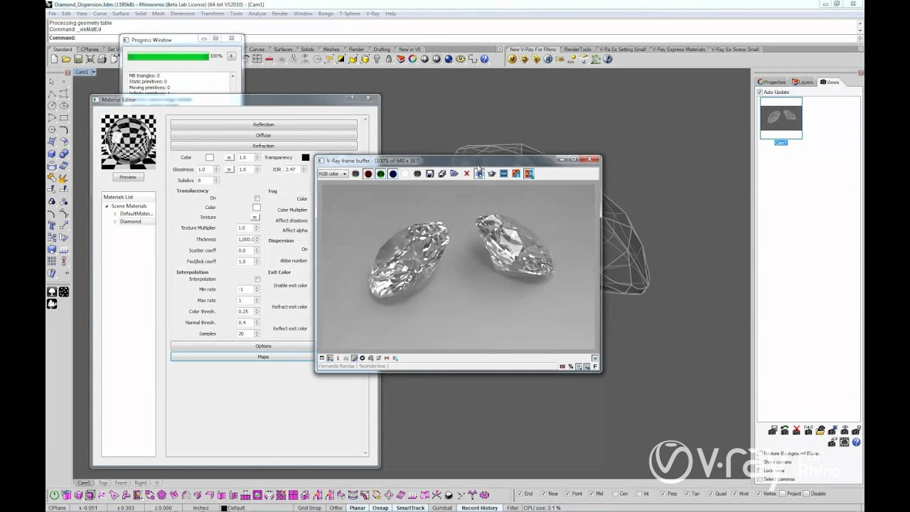 V Ray For Rhino Dispersion Youtube