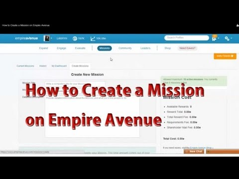 How to Create a Mission on Empire Avenue | Empire Avenue Tips