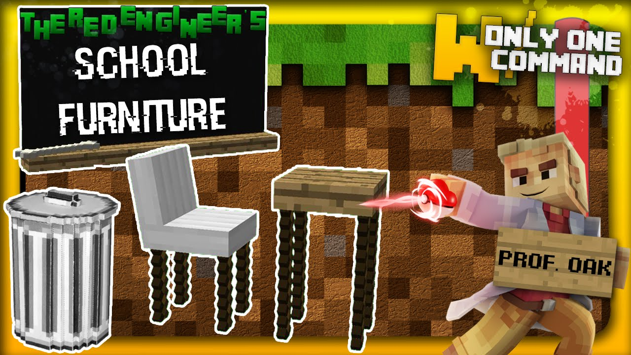 Minecraft School Furniture with only one command block