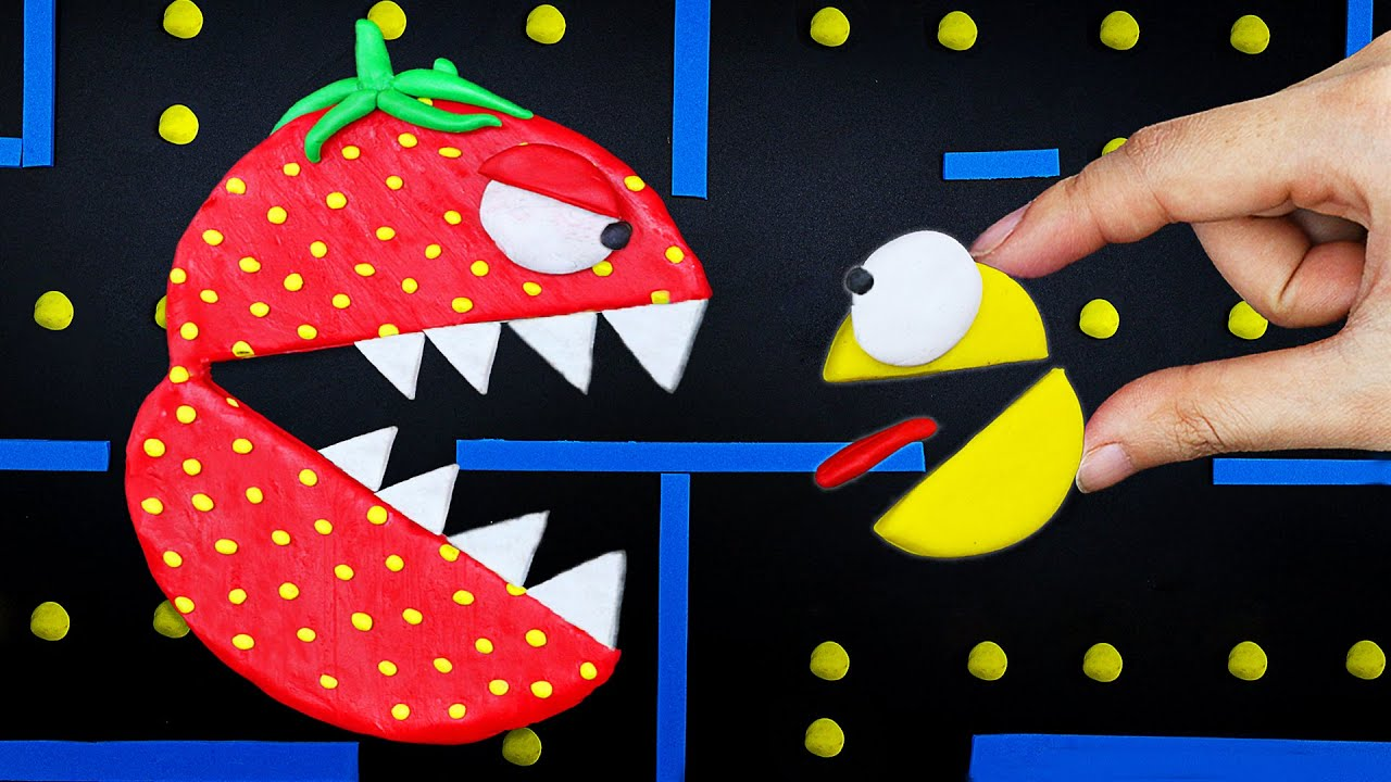 Strawberry Pacman Monster vs Crazy Ghost Battle | Game Pac-Man stop motion @Funny Pacman