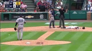 Mo mento dificil se vivio en el partido de beisbol entre yankees VS Detroit 8-24-2017