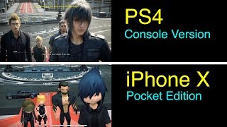 Final Fantasy XV: Pocket Edition VS Console Version (iPhone X versus PS4) Side-By-Side Comparison