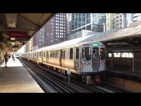 "CTA ""L"" Trains: Green, Orange, Pink, and Purple Express at Randolph/Wabash Station"