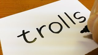 How to draw TROLLS using how to turn words into a cartoon - doodle art on paper