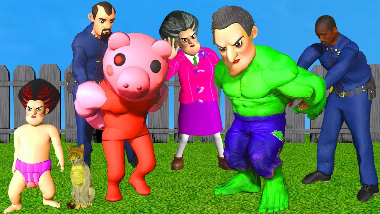Scary Teacher 3D The Police rescued Child of Miss T and Hello Neighbor In Hand Hulk and Piggy Games
