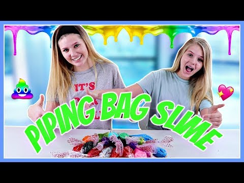 Piping Bag Slime Challenge with 3 Colors of Glue    Taylor and Vanessa
