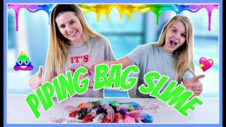 Piping Bag Slime Challenge with 3 Colors of Glue || Taylor and Vanessa