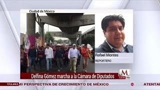 Delfina encabeza marcha del nuevo AICM a San Lázaro