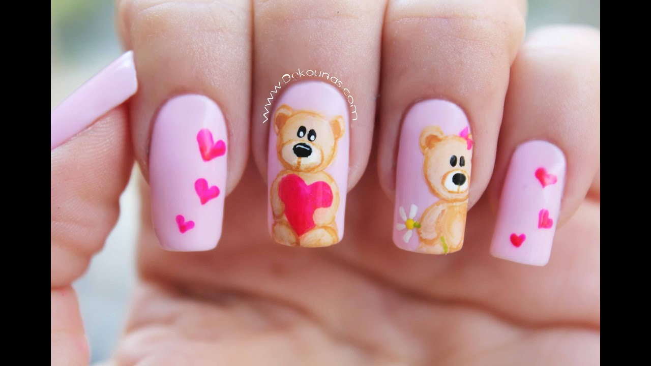 Decoraci n de u as osos bear nail art youtube for Decoracion unas