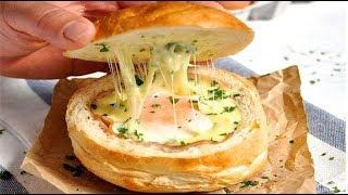 Вкусная булочка с яйцом и сыром