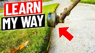 Lawn Edging with a String Trimmer or Weed Eater : Correct vs Incorrect