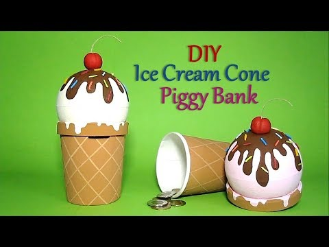 DIY Ice Cream Cone Piggy Bank | Recycled Craft Ideas For Kids | Recycle Ice Cream Container